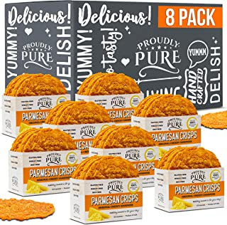 Proudly Pure Parmesan Cheese Crisps - Keto Snacks Zero Carb Crunchy Delicious Healthy 100% Natural Aged Cheesy Parm Chips Wheat, Soy & Gluten Free Keto Crackers Low Carb Snacks (Original, 8 Pack)