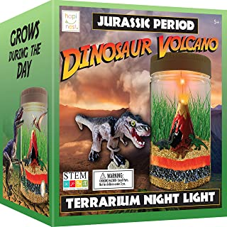 Hapinest Dinosaur Terrarium Kit with Light-up Volcano - Toy Gifts for Kids Boys and Girls Ages 5 6 7 8 9 10 Years and Up