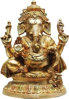 Brass Gift Center Ganesh ji statue colour with lacquer finish_22 Inch (Multicolour Brass)