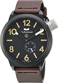 Vestal Canteen Italia Stainless Steel Japanese-Quartz Watch with Leather Calfskin Strap, Brown, 22 (Model: CNT3L07)