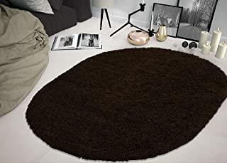 Cozy Shag Collection Solid Shag Rug Contemporary Living and Bedroom Soft Shaggy Oval Rug, Brown, 5'3