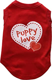 Mirage Pet Products 12-Inch Puppy Love Screen Print Shirt for Pets, Medium, Red