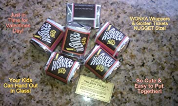 (30) NUGGET SIZED-WILLY WONKA CHOCOLATE BAR WRAPPERS & GOLDEN TICKETS-no chocolate included