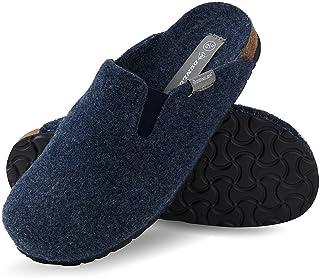 Dunlop Men's Slippers, Felt Slippers Non Slip Rubber Sole, Indoor Outdoor Shoes