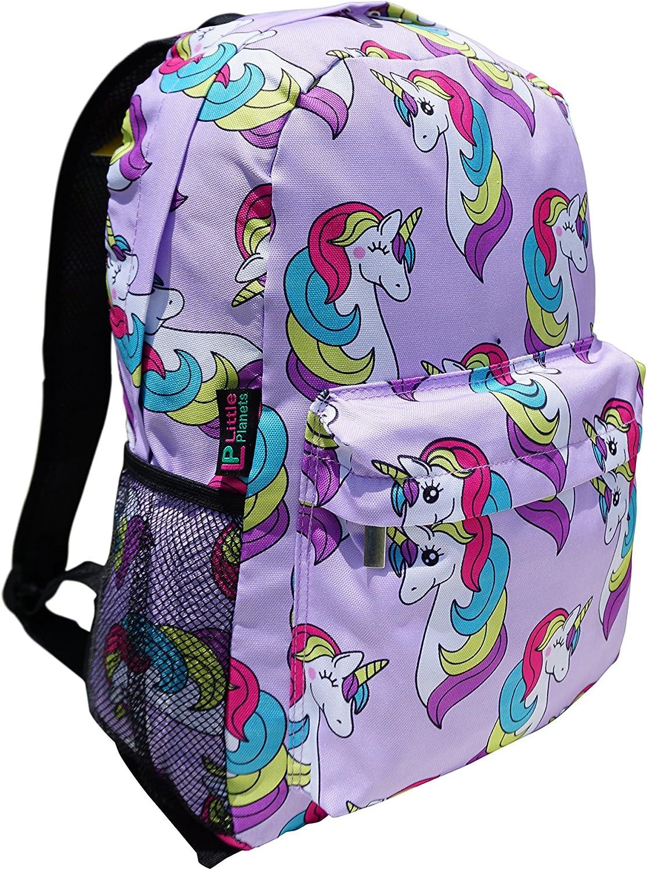 Little Planets Boys Girls All Over Print 16'' Kid School Backpack (Unicorn)