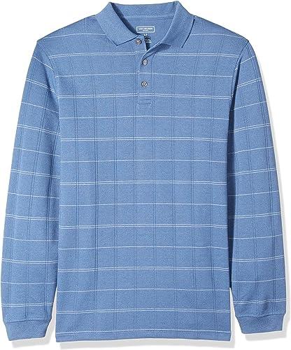 Van Heusen Hommes's Big and Tall Flex Jaspe Polo Shirt, bleu Horizon Plaid, 3X-grand Big