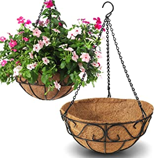 CABASAA 2 Pack Metal Hanging Planter Basket with Coco Coir Liner Chain Round Wire Plant Holder Flower Pots Hanger Garden D...