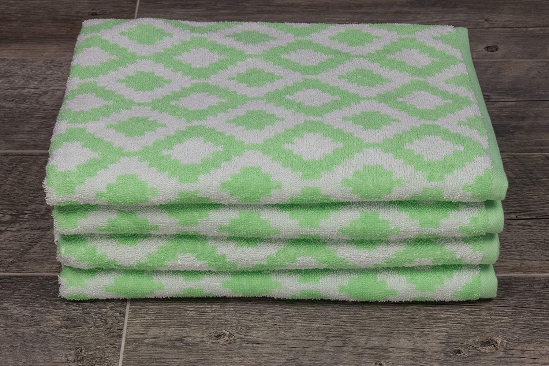 Amazon Com Fibertone Bleach Safe 4 Pk Geometric Diamond Beach Towel Set 60x30 Home Kitchen