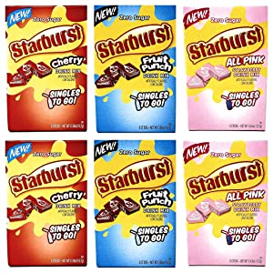 Starburst Zero Sugar Singles To Go Drink Mix Bulk Variety Pack - 3 Flavors - Cherry, Fruit Punch, and ALL PINK Strawberry - 2 Boxes of Each Flavor - 6 Sticks Per Box - 6 Boxes equal to 36 Sticks Total