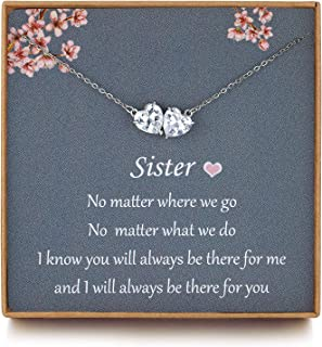 OFGOT7 Sister Gifts from Sisters - Sterling Silver Infinity Two Hearts Crystal CZ Sister Necklaces, Sister in Law Gifts, S...