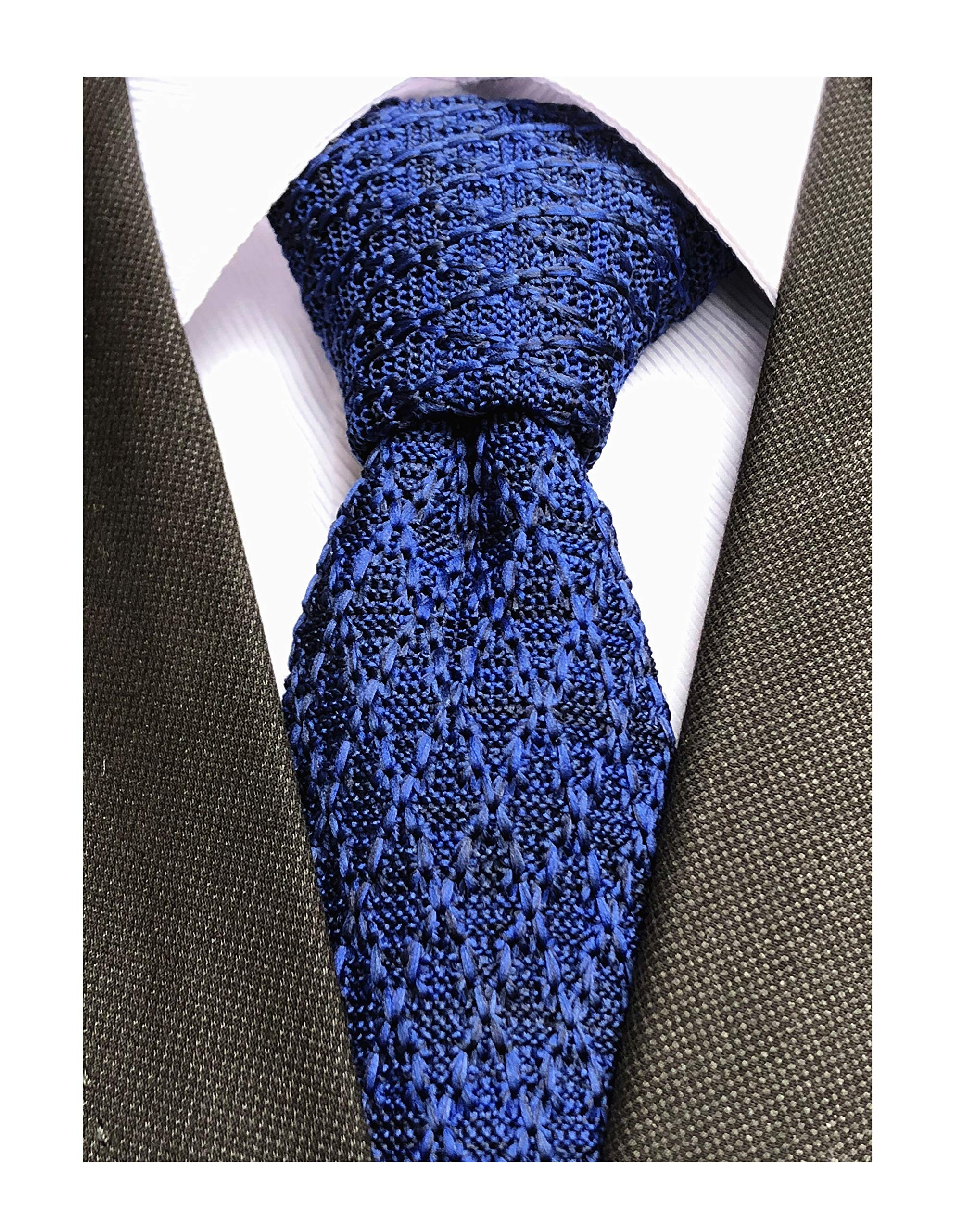 Alizeal Gift For World Mens Smart Casual Knit Tie Necktie Various Colors-Brown
