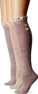 Women's 3 Pair Pack Lace Top Knee High Socks