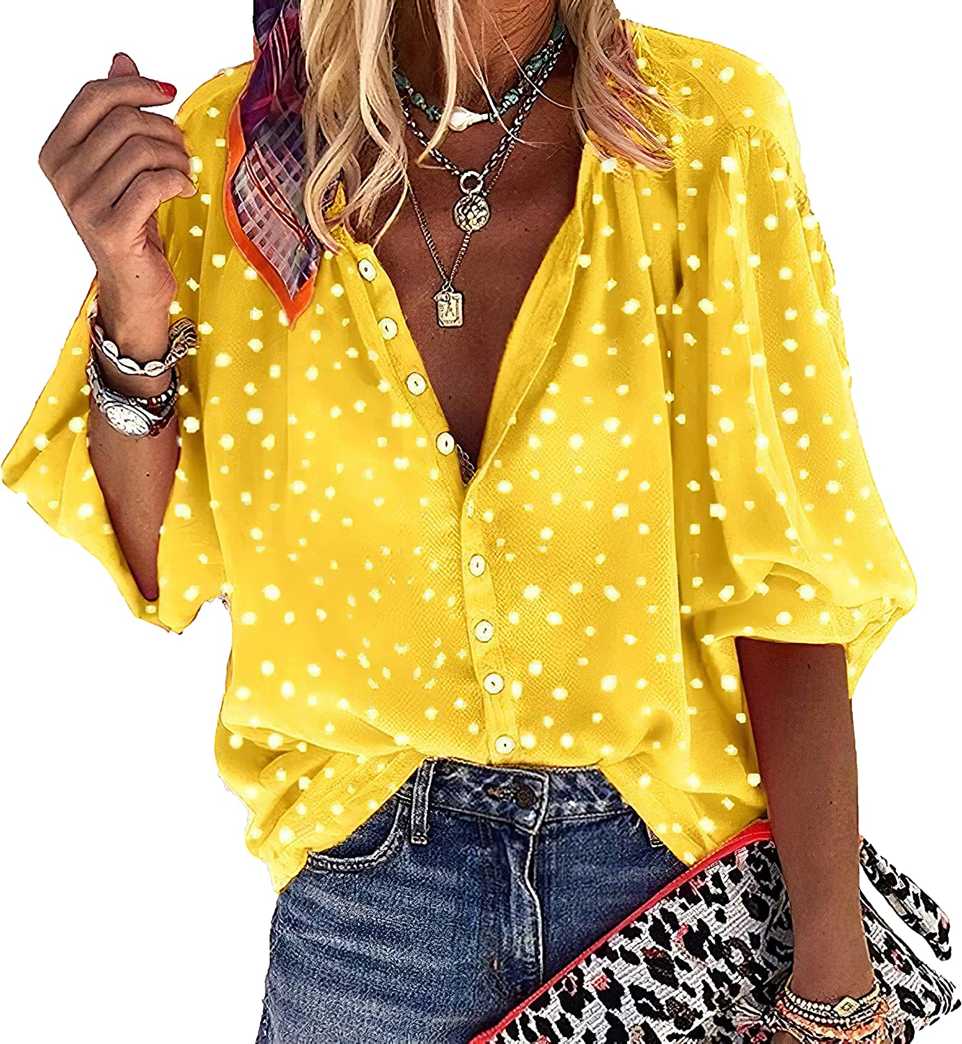 Akivide Women's Plus Size Casual Loose V Neck Shirt Tops Blouses Polka Dots Button Down Shirts