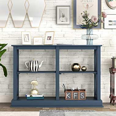 LUMISOL Console Table Classic X Design with 3-Tier Storage Shleves, Entryway Hall Table Foyer Tables for Living Rooms (Navy B