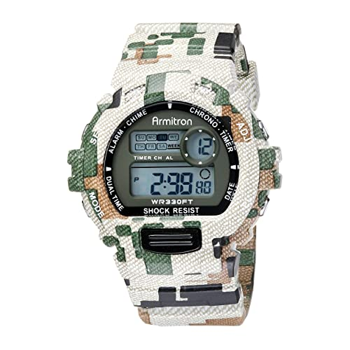 Armitron Mens 46mm Camouflage Digital Chronograph Resin Strap Watch