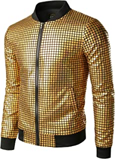 JOGAL Men's Metallic Sequins Gold Bomber Jacket 70s Disco Party Costume
