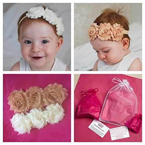 pink or white flowers for a baby UK Handmade!!! Lace headband for baby toddler