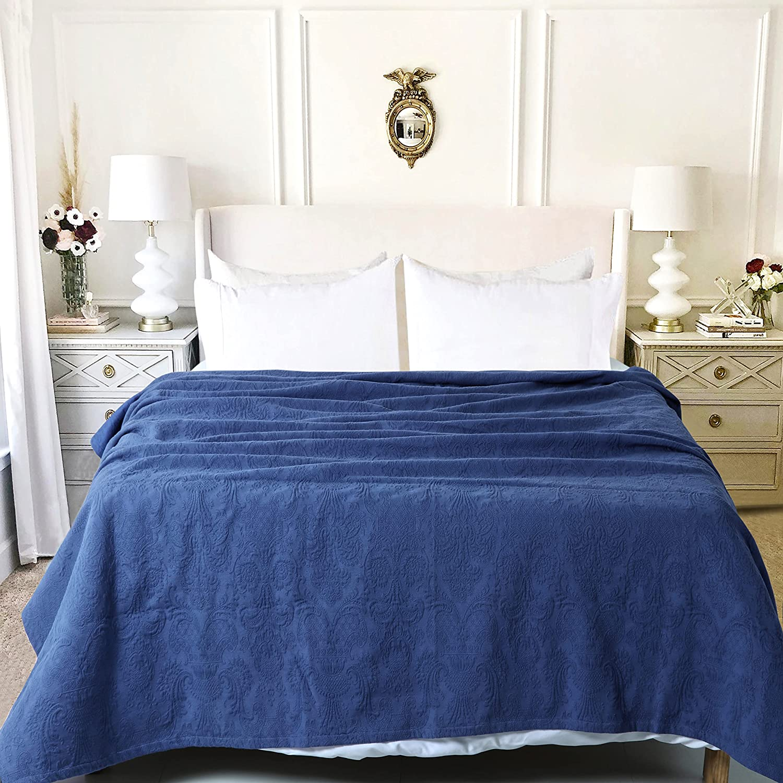 Cotton Blanket Direct store Matelassé Damask Design Perfect Thermal discount