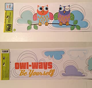 Owl on Branch Clouds Wall Decal Stickers Peel and Stick Pink Blue & Purple