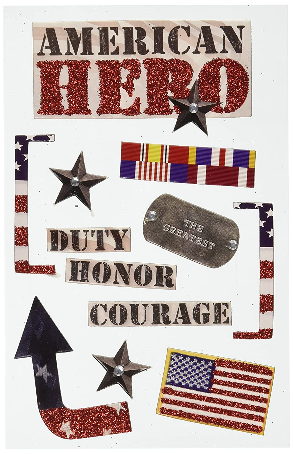 Paper House Productions STDM-0032E 3D Cardstock Stickers, American Hero (3-Pack)