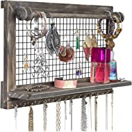 Rustic Jewelry Organizer with Bracelet Rod Wall Mounted l Wooden Wall Mount Holder for Earrings,...