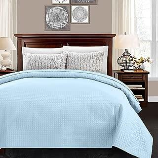 ALPHA HOME Lightweight Bed Quilt, Classical Pattern Comforter Bedspread Coverlet Blanket - Queen Size, Light Blue