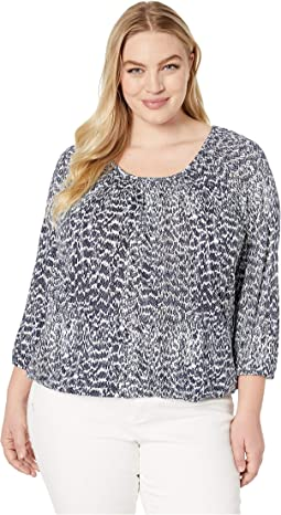 Plus Size Textured Viper Peasant Top
