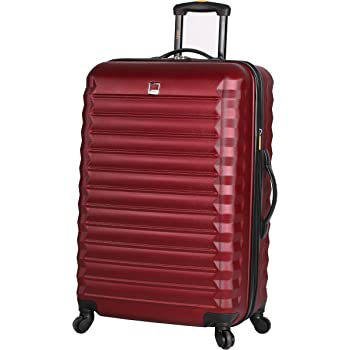 Lucas Treadlight Checked Luggage Collection - 24 Inch Scratch Resistant (ABS + PC) Hard Case Bag - Ultra Lightweight Expandable Large Suitcase With Rolling 4-Spinner Wheels (Burgundy)