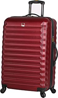 Lucas ABS Mid Size Hard Case 24 inch Rolling Suitcase With Spinner Wheels (24in, Burgundy)