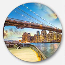 "Designart MT7575-C23 Bridge Park Brooklyn - Cityscape Photography Large Disc Metal Wall Art - Disc of 23"",Blue,23 X 23"