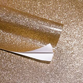 Self Adhesive Glitter Wall Paper for Walls Peel and Stick Roll Sparkle Decor Art Craft Bling Wallcovering(Champagne)