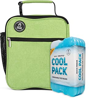 Healthy Packers Slim Long Lasting Ice Packs and Insulated Lunch Bag (Green)