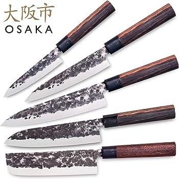 Compra 3 Claveles Juego de 5 Cuchillos Profesionales Estilo Japonés Gama Osaka, Hojas Unicas Forjadas a Mano en Amazon.es