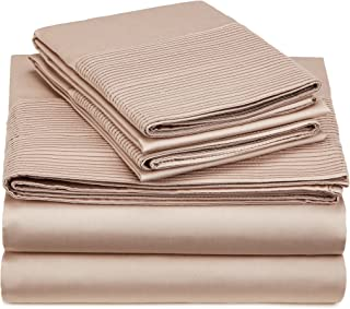 Pinzon 400-Thread-Count Egyptian Cotton Sateen Pleated Hem Sheet Set - Queen, Mocha