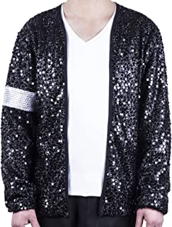 MJB2C-Style of Michael Jackson Billie Jean Costume Armband Sequin Jacket Kids، الأطفال/البالغين