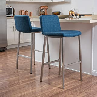 Christopher Knight Home 296618 Sabiniano Blue Fabric Barstool (Set of 2)