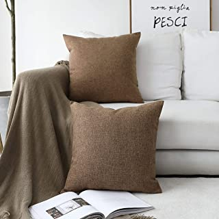 Home Brilliant Decorative Pillow Covers 16 x 16 inch Set of 2 Cushion Covers for Couch Bench Sofa, 40cm, Brown