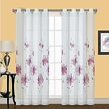 ستارة نافذة أحادية شفافة من United Curtain MON84VIO Monet مقاس 127 سم × 213 سم، بنفسجي