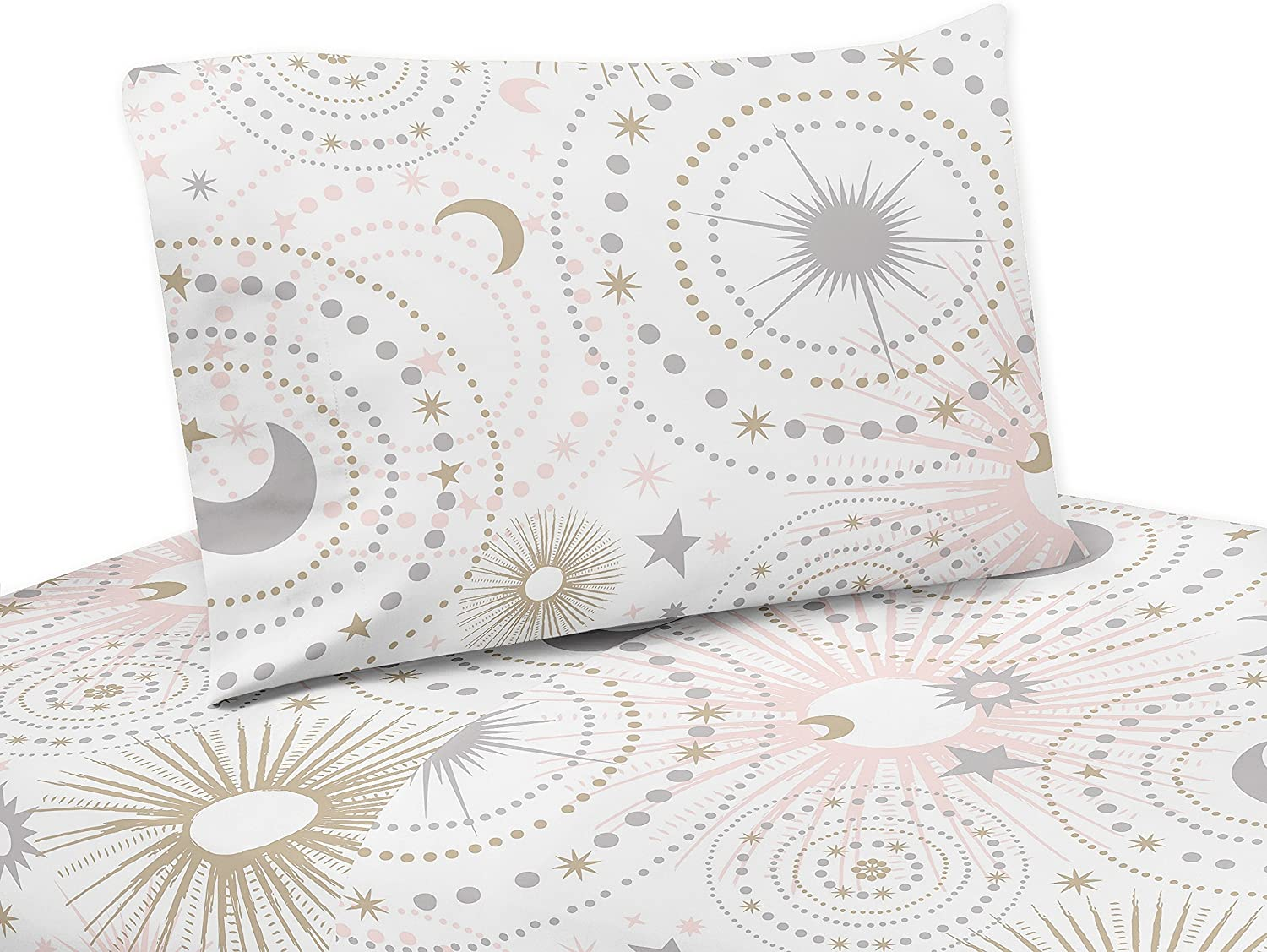 Sweet Jojo Designs 4-Piece bluesh Pink, gold, Grey and White Star and Moon Queen Sheet Set for Celestial Collection Set