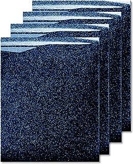 MiPremium Glitter Heat Transfer Vinyl, HTV Iron On Vinyl (Pack of 4 Sheets), for T Shirts Sports Clothing Other Garments & Fabrics, Easy to Cut, Weed & Press Blue Glitter htv Vinyl (Navy Blue)