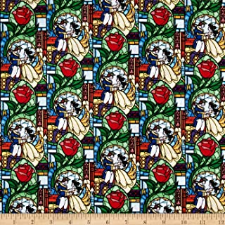 Springs Creative Products Disney Beauty and The Beast Stained Glass Multi Fabric by The Yard, Multicolor