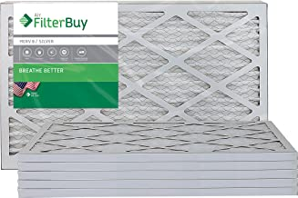 FilterBuy 16x25x1 MERV 8 Pleated AC Furnace Air Filter, (Pack of 6 Filters), 16x25x1 – Silver