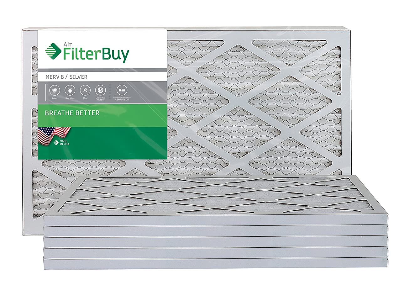 FilterBuy 13x21.5x1 MERV 8 Pleated AC Furnace Air Filter, (Pack of 6 Filters), 13x21.5x1 – Silver. Comparable to Bryant Carrier KFAFK0112SML.