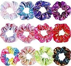 WATINC 12Pcs Shiny Metallic Hair Scrunchies Glitter Mermaid Hair Scrunchie Accessories Strong Elastic Hair Bobbles for Pon...