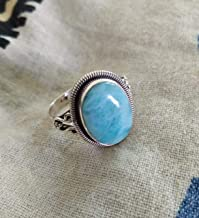 Larimar Ring, 925 Silver, Dominican Republic Larimar, Hippie Ring, Charm Stone, Blue Stone Ring, Solid & Beautiful Gift, Caribbean Larimar Jewelry, March Birthstone Jewelry, Fine Jewelry Ultimate Ring