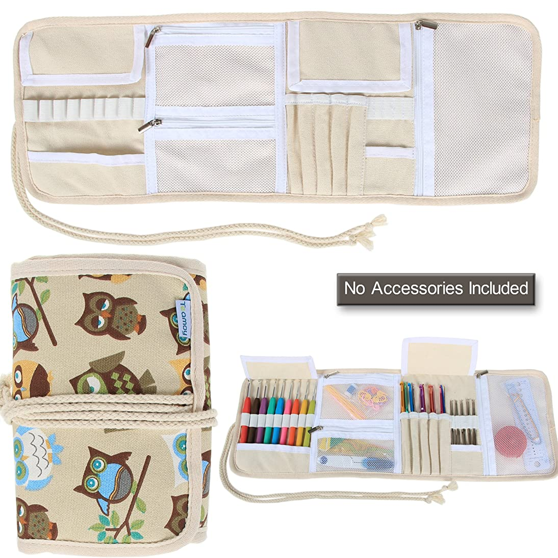 Teamoy Crochet Hook Case, Canvas Roll Bag Holder Organizer for Various Crochet Needles and Knitting Accessories, Coffee Owls