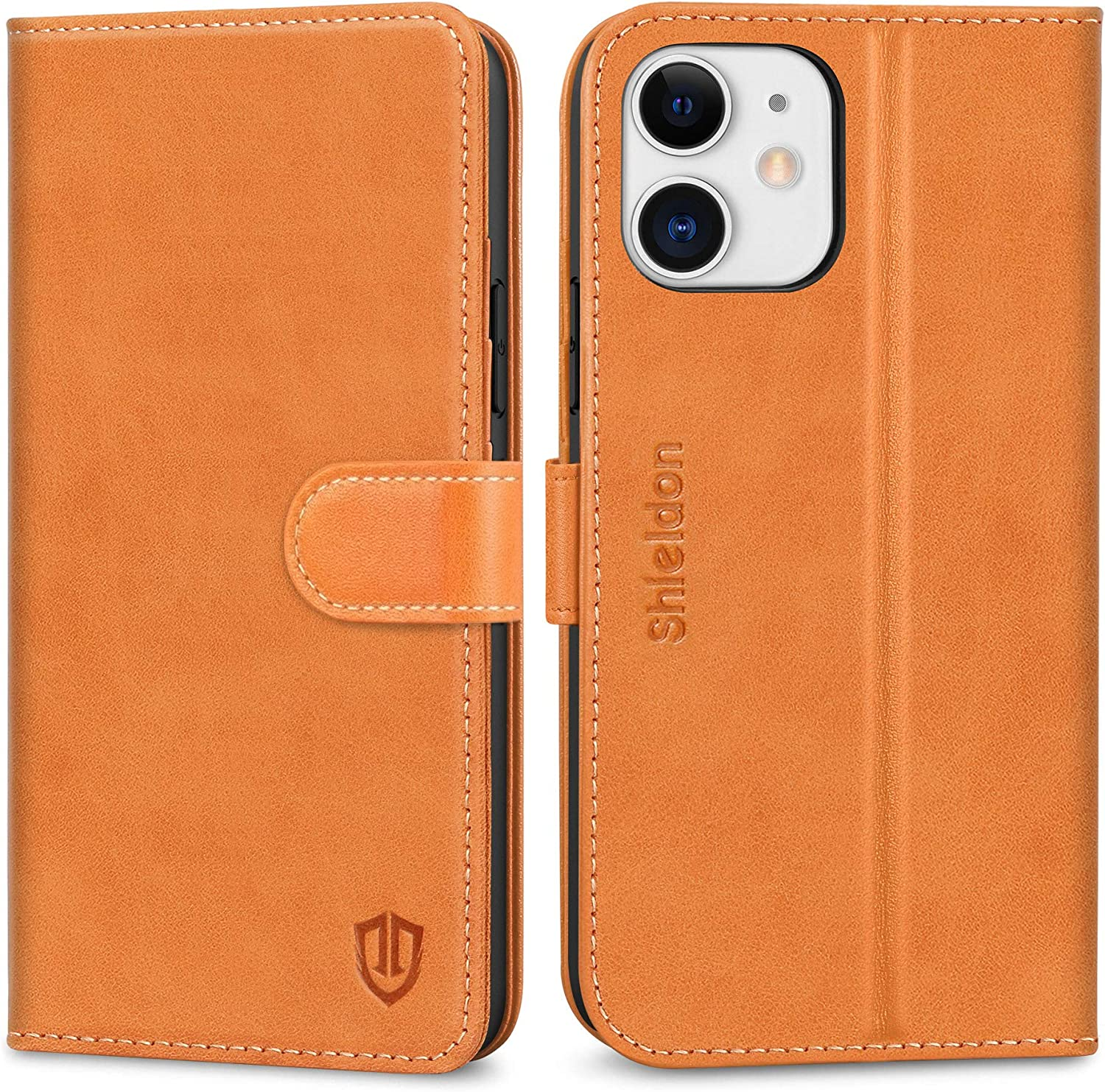 SHIELDON Case for iPhone 12/12 Pro, Genuine Leather Wallet Case with Kickstand RFID Blocking Card Holder Magnetic Shockproof Case Compatible with iPhone 12/12 Pro 6.1
