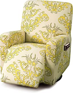 TIKAMI Stretch Printed Recliner Chair Covers Jacquard Fabric Sofa Slipcovers Washable Furniture Protector with Elastic Bottom for Pets and Kids(Yellow)