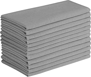 Cotton Clinic 12 Pack Cloth Dinner Napkins 17x17, 100% Cotton Fabric Soft and Comfortable Cocktail Napkins, Wedding Dinner Napkins with Mitered Corners and Generous Hem - Gray