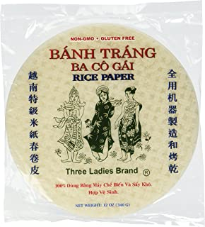 Three Ladies Brand Spring Roll Rice Paper Wrapper (2 Packs) Round, 22cm